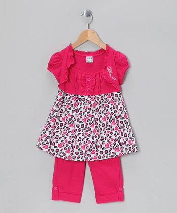 Fuchsia Cheetah Tunic & Capri Leggings - Girls