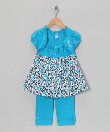 Turquoise Cheetah Tunic & Capri Leggings - Girls