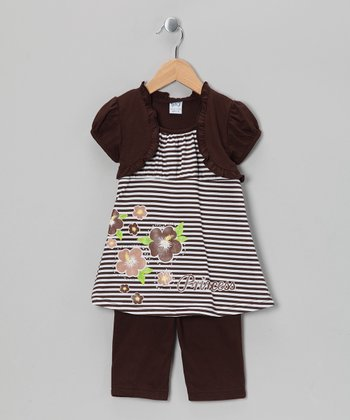 Brown Stripe Tunic & Capri Leggings - Toddler & Girls