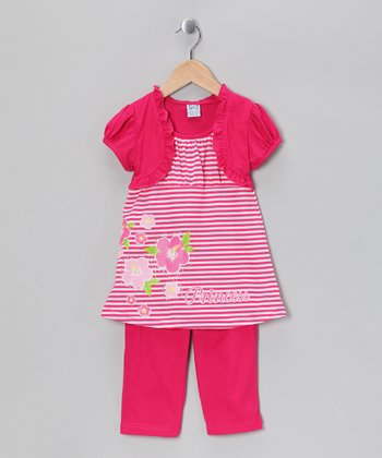 Fuchsia Stripe Tunic & Capri Leggings - Infant, Toddler & Girls