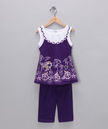 Purple Palm Tunic & Capri Pants - Infant, Toddler & Girls