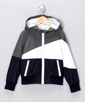 Navy & Gray Zip-Up Hooded Jacket - Boys