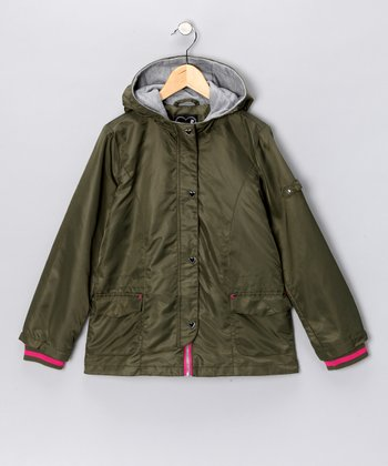 Olive Hooded Jacket - Girls