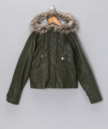 Olive Bomber Jacket - Girls