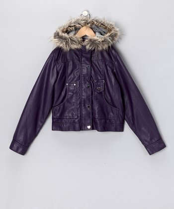 Purple Faux Fur Hood Bomber Jacket - Girls