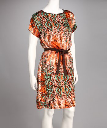 Orange & Brown Abstract Dress