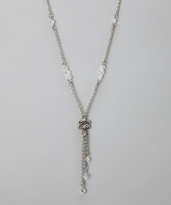 Silver Crystal Bead Necklace