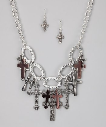 Silver Cross Necklace & Earrings