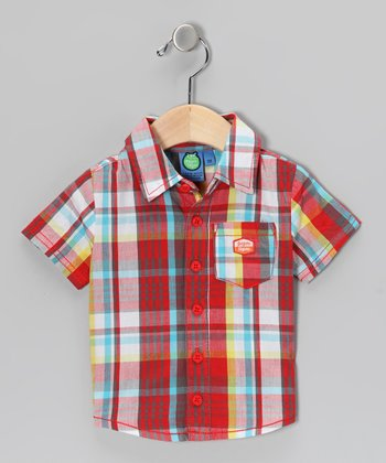 Flame Scarlet Plaid Button-Up