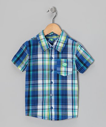 Victoria Blue Plaid Button-Up