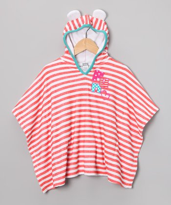 Coral Stripe Hooded Knit Towel