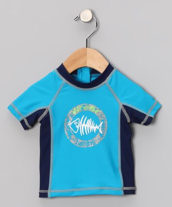 Blue & Navy Fishbone Rashguard - Infant