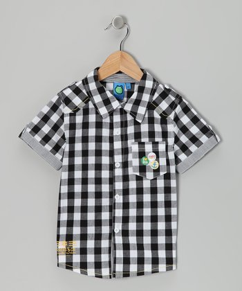Black Checkerboard Button-Up - Infant & Toddler