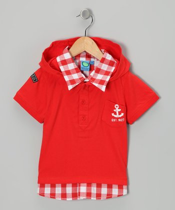 Flame Scarlet Checkerboard Polo