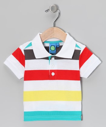 White Stripe Polo - Infant & Toddler