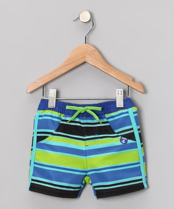 Blue & Green Stripe Swim Trunks