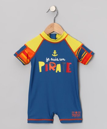 Blue & Yellow 'Pirate' One-Piece Rashguard