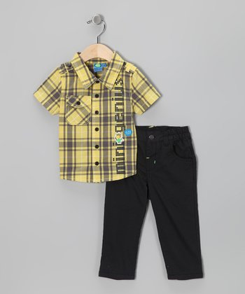 Aspen Gold Plaid 'Mini Genius' Button-Up & Pants - Infant