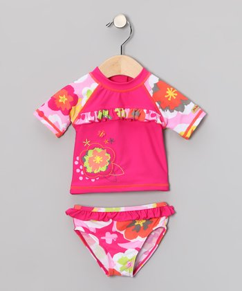 Pink Floral Rashguard Set - Toddler