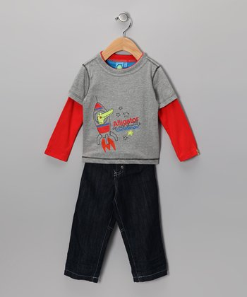 Gray 'Alligator Commander' Layered Tee & Jeans - Infant