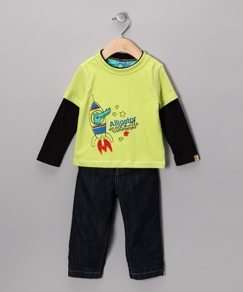 Wild Lime 'Alligator Commander' Layered Tee & Jeans - Infant