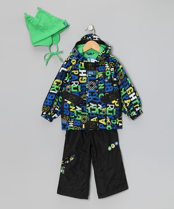 Black Letter Raincoat Set - Infant