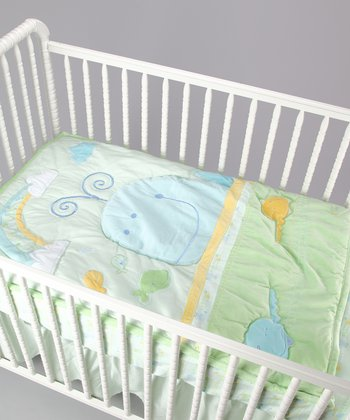 Green Whale Crib Set