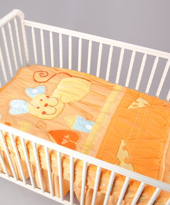 Orange Puppy Crib Set