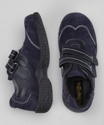Blue Suede Double-Strap Shoe