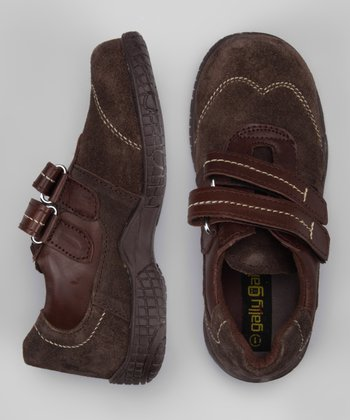 Brown Suede Double Strap Shoe