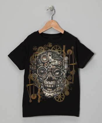 Black Gear Skull Tee - Toddler & Boys