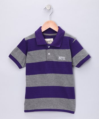 Purple Stripe 'NYU' Evan Polo - Toddler