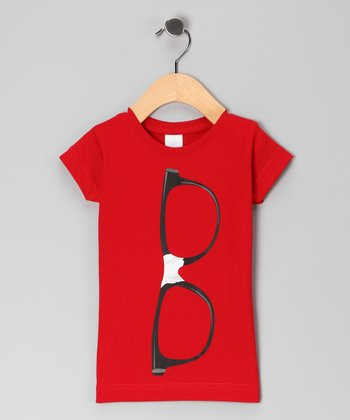 Red Nerd Glasses Tee - Toddler & Girls