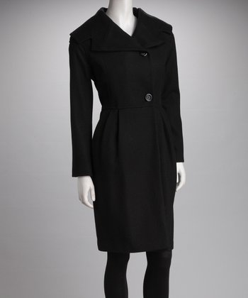 Black Pleated Wool-Blend Coat - Women