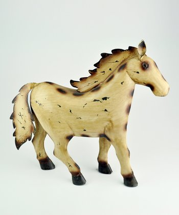Antique White Rustic Horse Sculpture