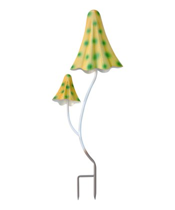 Yellow & Green Dot Double-Stalk Mushroom Stake