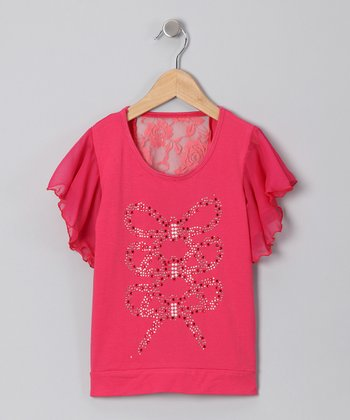 Fuchsia Bow Flutter Top - Toddler & Girls
