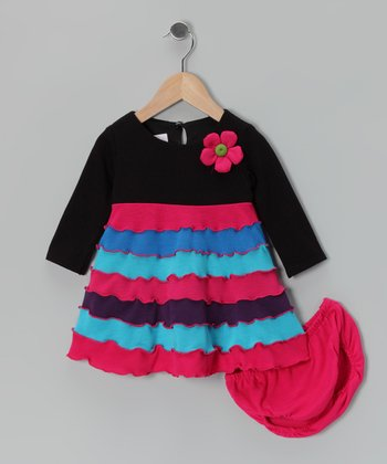 Black & Fuchsia Ruffle Tiered Dress & Diaper Cover - Infant