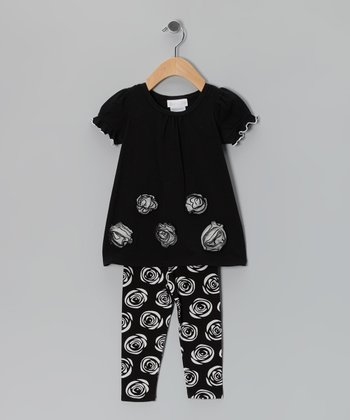 Black Rose Dress & Leggings - Infant