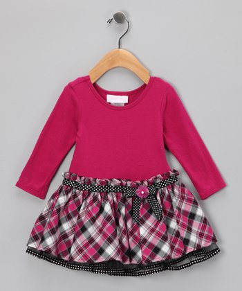 Fuchsia Plaid Drop-Waist Bow Dress - Infant