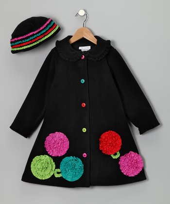 Black Bonanza Flower Fleece Coat & Beanie - Toddler & Girls