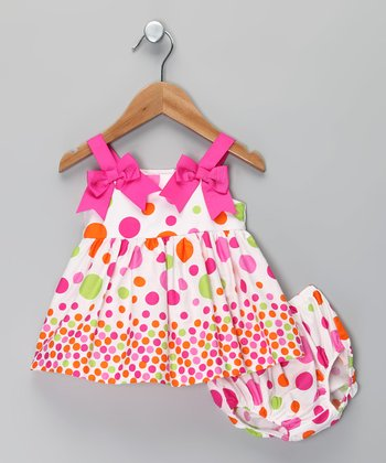 Pink Polka Dot Dress & Diaper Cover - Infant