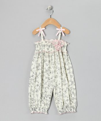 Gerson & Gerson Ivory Toile Playsuit - Infant