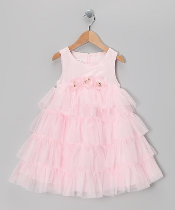 Pale Pink Flower Tiered Dress - Toddler