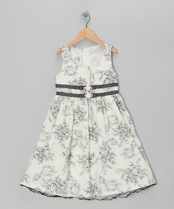 Black & White Toile Floral Dress - Girls