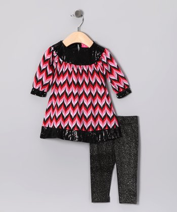 Red Chevron Tunic & Sparkle Leggings - Infant, Toddler & Girls