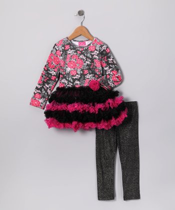 Pink Flower Tunic & Sparkle Leggings - Toddler & Girls
