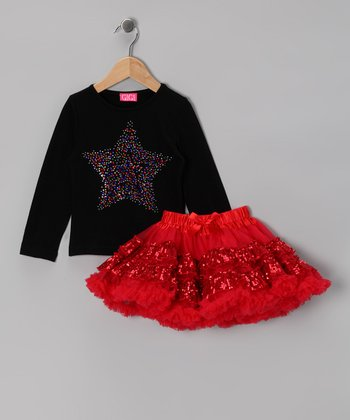 Black Sparkle Star Tee & Pettiskirt - Toddler & Girls