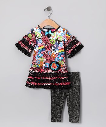 Leopard Flower Tunic & Sparkle Leggings - Toddler & Girls