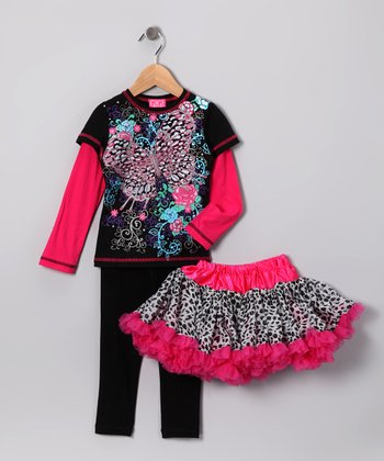 Pink & Black Butterfly Pettiskirt Set - Infant, Toddler & Girls